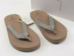 Brunello Cucinelli NWB Thong Flip Flop Sandals Sz 42 9 US In Tan with Gray