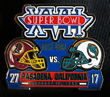 SUPER BOWL 17 WASHINGTON REDSKINS / DOLPHINS Final Score LAPEL PIN Willabee Ward