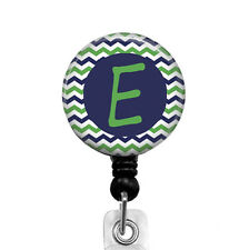 Retractable Badge Reel Blue Green Chevron, Personalized ID Badge Holder, 213B