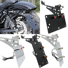 Black Side Mount License Plate Frame Bracket & LED Light For Harley Iron XL883N