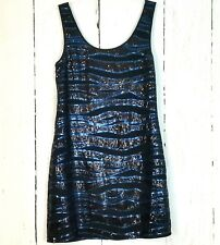 Jenny Han sz L NWT Cocktail Mini Dress Sleeveless Embellished Sequins Blue Black