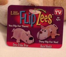 "FlipaZoo Little Flipzee 5"" Plush As seen on TV Urso Polar Bear/Hazel Dragon New"