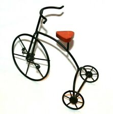 Vintage! Boyd's Bears? Miniature Black Iron Tricycle w/ Wooden Display Seat
