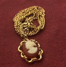 "Vintage Necklace 17"" Gold Tone Cameo Pendant"