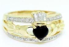 Claddagh Onyx 20 Diamond 9ct 375 9K Solid Gold Celtic Irish Ring - 30 Day Return