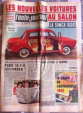 >L'AUTO-JOURNAL n°281 du 9/1961; Essai Fiat 500/ Les nouvelles voitures au salon