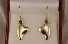 Heart Dangle Earrings with Bezel Set Rubys Lever Backs Solid 14kt Yellow Gold