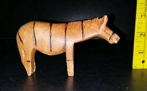 Vintage Carved Light Wood Modernistic Zebra from Zimbabwe Signed Cauld?