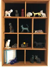Franklin Mint Curio Cat Collection - 16 Cats & Cabinet!