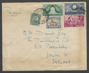 South Africa 1927-28 Voortrekker Monument set of 3 etc on cover to England