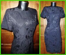 Vintage ~ LOUIS FERAUD ~ Jacquard Print Black Cocktail Party Sheath DRESS