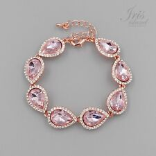 ROSE GOLD Plated Pear Pink Crystal Rhinestone Wedding Tennis Cuff Bracelet 02268