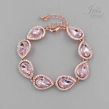 ROSE GOLD Plated Pear Pink Crystal Rhinestone Wedding Tennis Cuff Bracelet 02268