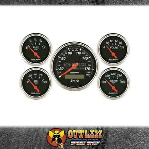 AUTOMETER 5-PIECE GAUGE SET DESIGNER BLACK SPEEDO OIL/TEMP FUEL/VOLT - AU1421-M