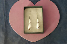 Beautiful Earrings With Shell Bottom 4.5 Cm. Long + Hooks In Display Gift Box
