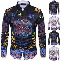 Men's Dragon Print Slim Fit Shirt Long Sleeve Formal Casual Tops T Shirts Blouse