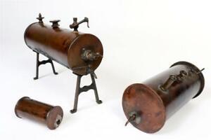 3 x Vintage ~ Steam Engine Copper Boiler Tanks                             #2154
