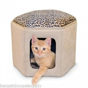 KH Mfg Indoor Unheated Kitty Sleephouse Cat Pet Bed Tan Leopard KH3892