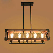 Industrial Loft Wooden Rectangle Shade 5 Lights Black Iron Ceiling Pendant Light