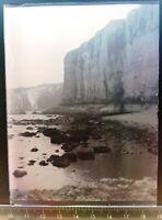 EE095 Plaque verre négatif 1930 TBE 12x9 cm vue falaise mer
