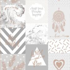 LIFE IS BEAUTIFUL COLLAGE WALLPAPER GREY / ROSE GOLD - HOLDEN 90051