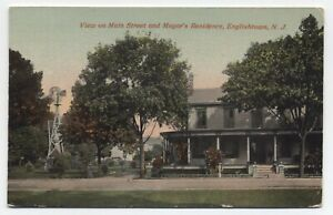 NJ ~ Mayor's Home & Main Street ENGLISHTOWN New Jersey 1913 Monmouth Co Postcard