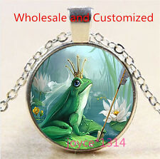 Vintage Frog Prince Cabochon Tibetan silver Glass Chain Pendant Necklace #3486