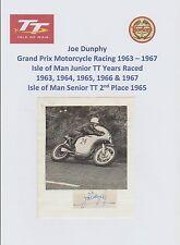 JOE DUNPHY MOTORCYCLE RACER 1963-1967 IOMTT RARE ORIGINAL HAND SIGNED CUTTING