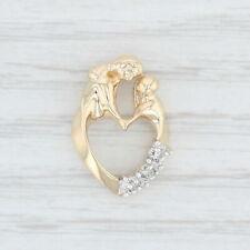 Diamond Mother & Child Heart Pendant - 10k Yellow Gold Mom Gift