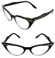 564ceded562 Women s small Cat Eye Vintage Clear Lens Eye Glasses Black Clear Rhinestones  50s
