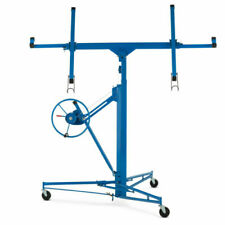 11' Drywall Panel Rolling Lifter Dry Wall Hoist Jack Caster Lockable Tool Blue