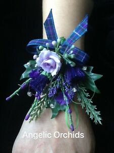 Lady's Lilac Rose Scottish Heather Thistles Buttonhole On Bracelet Made To Order