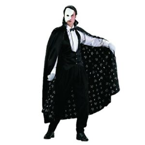 The Phantom Adult Costume Of The Opera Black Cape Satin Vest Mask Erik Mens