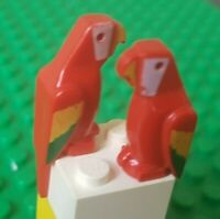2x Lego 2546p01 Red Parrots with Coloured Wings