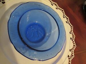 VINTAGE COBALT BLUE CHILD'S MOTHER GOOSE BOWL