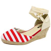 WOMENS RED WHITE NAUTICAL HESSIAN CANVAS WEDGE PUMPS ESPADRILLE SHOES SIZE 3-8