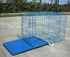 "Blue 24"" Pet Folding Suitcase 2 Doors Dog Cat Cage Kennel Pen w/ABS Tray"