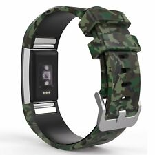 Classic Green Camo Wristband Strap Band Bracelet Accessories for Fitbit Charge 2