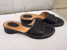 BORN LADIES BLACK SLIP ON SANDALS, SZ 8 M/W LEATHER UPPER & LINING, EXCELLENT