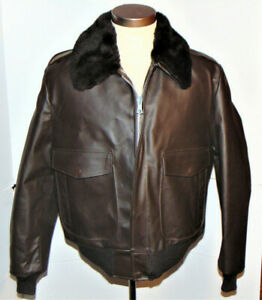 VTG 1970s SEARS G-1 STYLE LEATHER FLIGHT JACKET! BOMBER /QUILTED LINING/USA 42