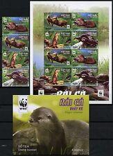 Vietnam 2016 WWF Otter Naturschutz Satz Kleinbogen Markenheft 3717-3720 MNH