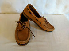 Leather Tie Laced Slip On Loafers Moccasins Womens 8.5 Mens 7 ? Camel Tan Brown