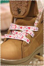 Coppia Stringhe colori Fashion BIANCHE CON CUORICINI ROSA 115 cm * shoes strings
