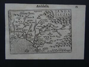 1609 LANGENES atlas map  ANDALUSIA - SPAIN - Andaluzia Andalusie Espagne