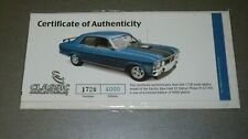 1:18 CLASSIC CARLECTABLE FORD FALCON XY GHTO CERT & BOOKLET ONLY, NEVER OPENED