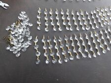Vintage LOT of 34 Cut Glass 4 TAB Chandelier Prisms