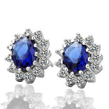 New 18K White Gold Filled Classic Vintage SWAROVSKI Crystal Stud Earrings
