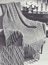 Vintage Knitting PATTERN to make Knitted Afghan/Throw Lattice Lace Design