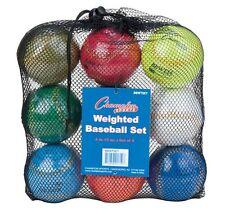 New Champion Set of 9 Weighted Training Baseballs 4oz. - 12oz. Balls & Mesh Bag
