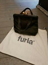 Vintage furla leather handbag moc croc box design